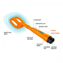 Image of Quest Orange Scuba Tector on a white background with black text labeling features