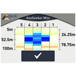 Touch display on OKM GeoSeeker Mini Water and Cavity Detector showing blue at depth of 52 meters indicating water