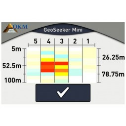 OKM GeoSeeker Mini Water and Cavity Detector showing red at depth of 52 meters indicating a cavity in the ground