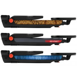 Three different color options of Minelab GO-FIND 22 Metal Detector folded flat