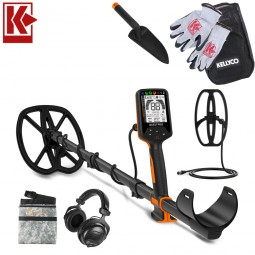 Quest Pro Bundle Pack Metal Detector with Kellyco Gloves and Pouch in Upper Right Corner and Red Kellyco Logo in Upper Left on White Background