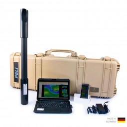 OKM Fusion Light Scanner with Laptop and Smartphone in Front of Tan Pelican Case