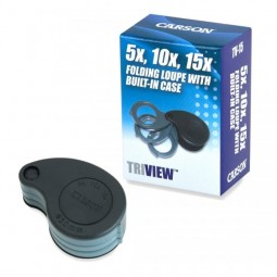 The Carson TriView 5x-15x Folding Magnifier and Box