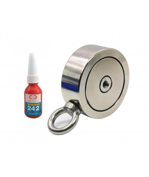 "Brute Magnetics 1,200 LBS (combined) pulling force Double Sided Round Neodymium Magnet with Eyebolt, 3.70"" Diameter"