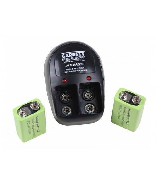 Garrett Pro 9V Recharge Kit with Charger and (2) 9V Ni-MH Batteries 1612000 Image 1