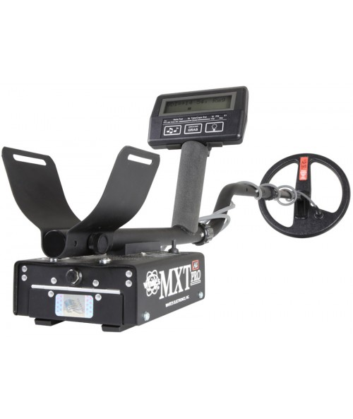 Closeup of electronic box on White's MXT All-Pro Metal Detector