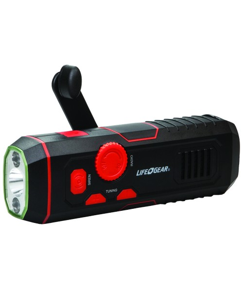 Life + Gear 120-Lumen Stormproof USB Crank Flashlight & Radio
