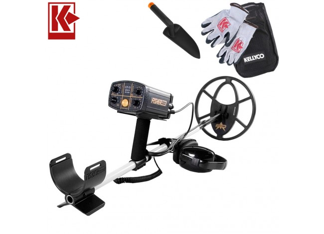 """Fisher CZ-21 Metal Detector with 10.5"""" Search Coil with Kellyco Gloves, Pouch, and Trowel in Upper Right Corner and Red Kellyco Logo in Upper Left on White Background"""
