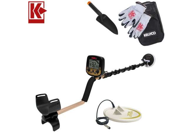 Fisher Gold Bug Pro - 2 Coil Combo Metal Detector with Kellyco Gloves, Pouch, and Trowel in Upper Right Corner and Red Kellyco Logo in Upper Left on White Background
