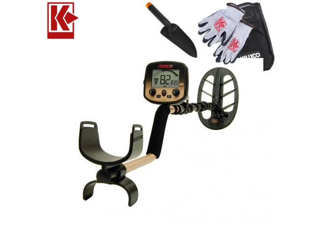 Fisher Gold Bug DP Metal Detector with Kellyco Gloves, Pouch, and Trowel in Upper Right Corner and Red Kellyco Logo in Upper Left on White Background