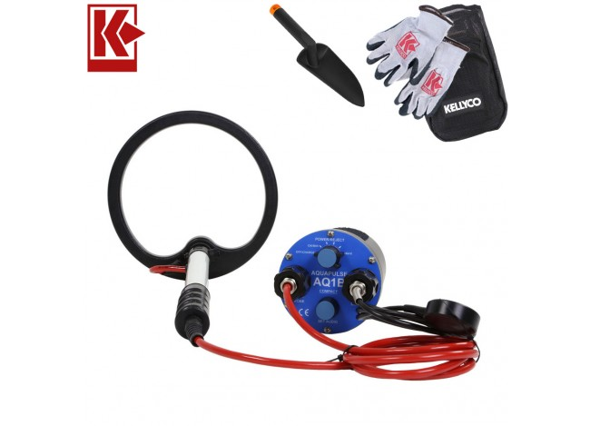 """Aquascan Aquapulse AQ1B Metal Detector Standard Diver Kit with 8"""" Submersible Coil with Kellyco Gloves, Pouch, and Trowel in Upper Right Corner and Red Kellyco Logo in Upper Left on White Background"""