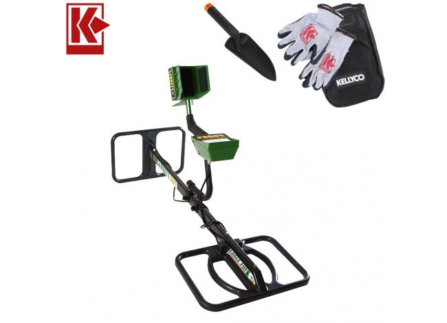 Garrett GTI 2500 EagleEye Depth Multiplier Package Metal Detector with Kellyco Gloves, Pouch, and Trowel in Upper Right Corner and Red Kellyco Logo in Upper Left on White Background