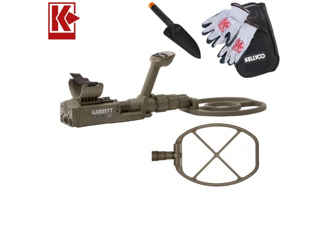 Garrett ATX Pro DeepSeeker Package Metal Detector with Kellyco Gloves, Pouch, and Trowel in Upper Right Corner and Red Kellyco Logo in Upper Left on White Background