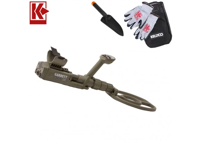 Garrett ATX Extreme PI Metal Detector with Kellyco Gloves, Pouch, and Trowel in Upper Right Corner and Red Kellyco Logo in Upper Left on White Background