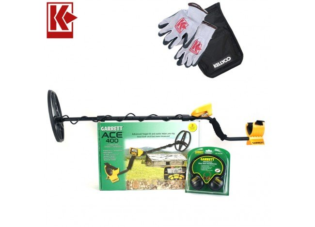 Garrett ACE 400 Metal Detector with Kellyco Gloves, Pouch, and Trowel in Upper Right Corner and Red Kellyco Logo in Upper Left on White Background