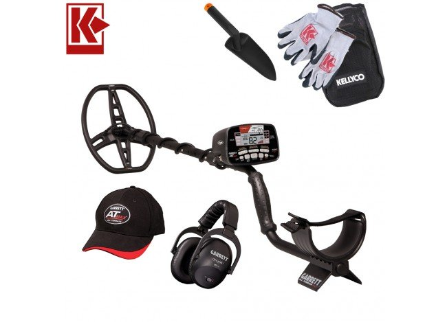 Garrett AT Max Metal Detector with Z-Lynk with Kellyco Gloves, Pouch, and Trowel in Upper Right Corner and Red Kellyco Logo in Upper Left on White Background