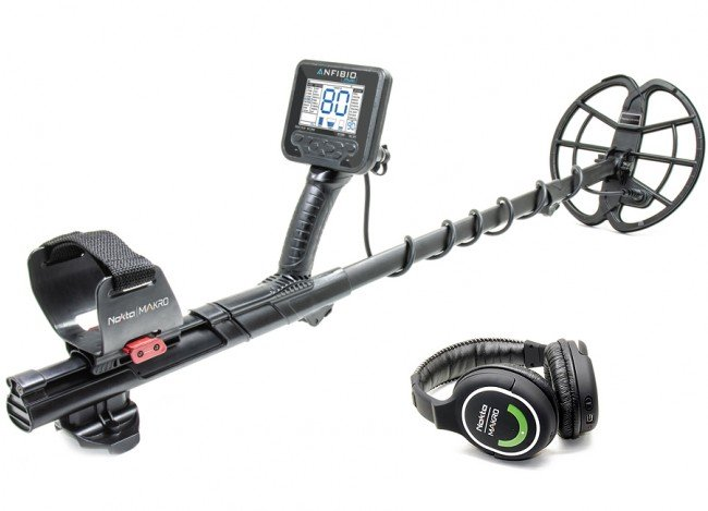 Nokta Makro ANFIBIO Multi Metal Detector shown with headphones from Kellyco Metal Detectors