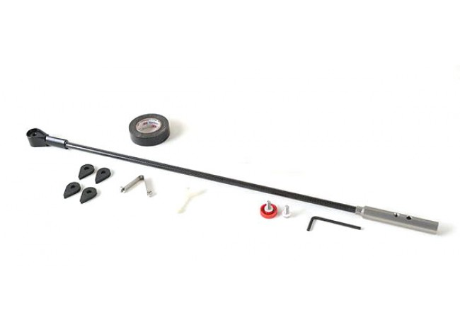 Disassembled Lower Rod with Hardware on White Background