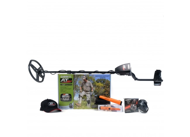 Garrett AT Max Metal Detector on White Background with Hat, AT Pointer and MS-3 Headphones in Manufacturer Boxes