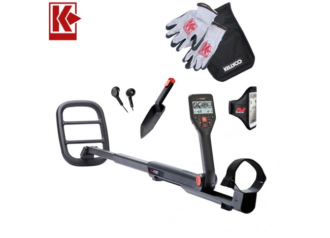Minelab GO-FIND 66 Metal Detector with Kellyco Gloves, Pouch, and Trowel in Upper Right Corner and Red Kellyco Logo in Upper Left on White Background