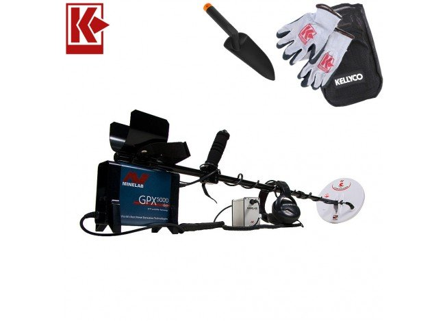 Minelab GPX 5000 Metal Detector with Extra Coil and Kellyco Gloves, Pouch, and Trowel in Upper Right Corner and Red Kellyco Logo in Upper Left on White Background