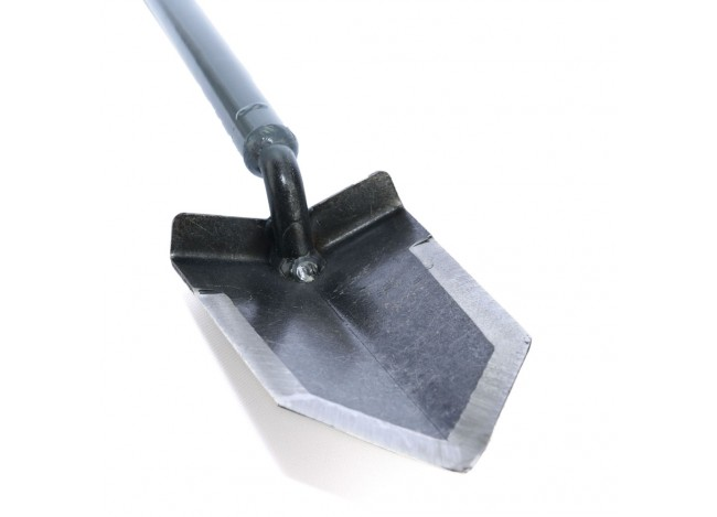 "Closeup on point of Lesche Sampson 31"" T-Handle Shovel"