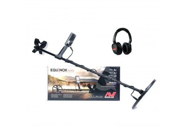 Minelab Equinox 600 Metal Detector Sitting On Manufacturer's Box on White Background with Wireless Bluetooth Headphones In Upper Corner on White Background