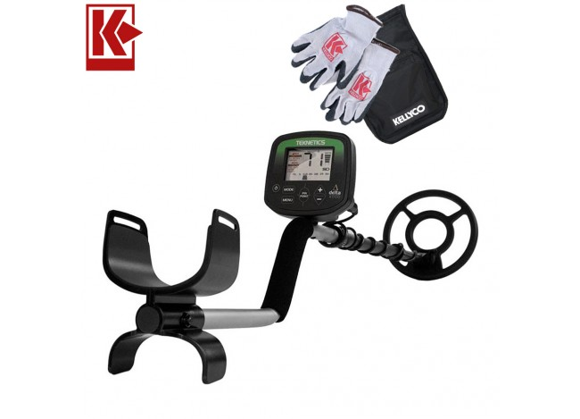 Teknetics Delta 4000 Metal Detector with Kellyco Gloves, Pouch, and Trowel in Upper Right Corner and Red Kellyco Logo in Upper Left on White Background