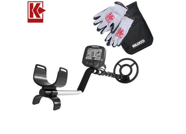 Teknetics Gamma 6000 Metal Detector with Kellyco Gloves, Pouch, and Trowel in Upper Right Corner and Red Kellyco Logo in Upper Left on White Background