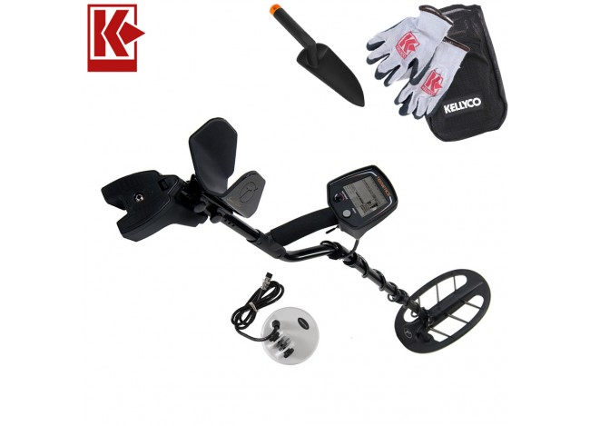 Teknetics T2 Special Edition Metal Detector with Kellyco Gloves, Pouch, and Trowel in Upper Right Corner and Red Kellyco Logo in Upper Left on White Background