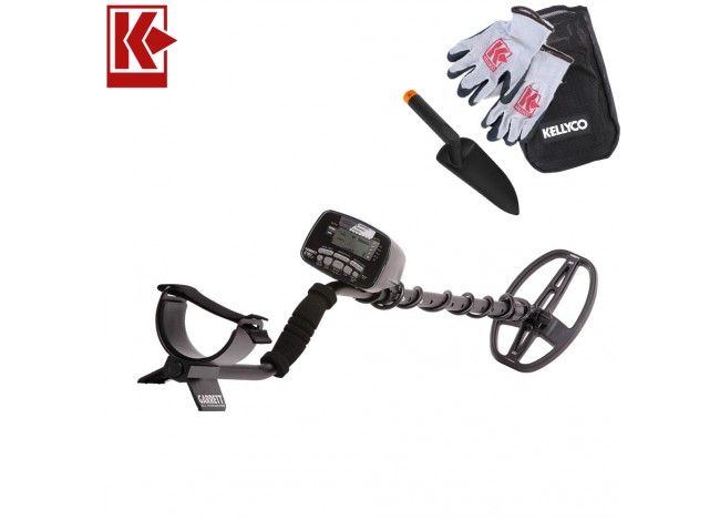 Garrett CSI Pro - All Terrain Metal Detector with Kellyco Gloves and Pouch in Upper Right Corner and Red Kellyco Logo in Upper Left on White Background