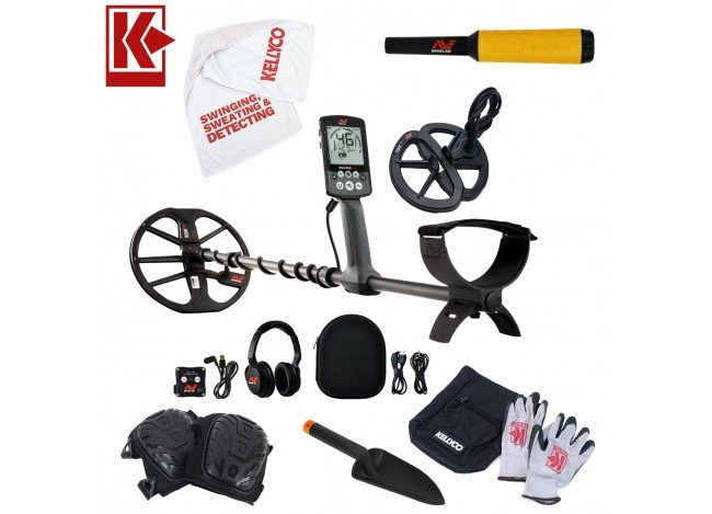 """Minelab Equinox 800 Metal Detector Bundle with 6"""" EQX Smart Coil on White Background with Kellyco Logo in Upper Left Corner"""