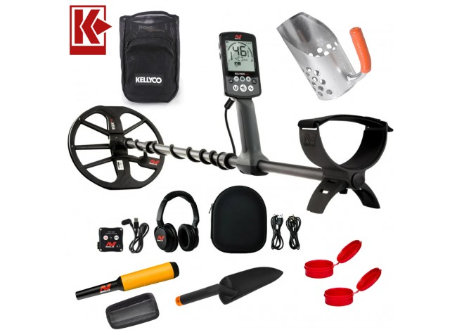 Minelab Equinox 800 Metal Detector With Beach Bundle Sand Scoop and Pinpointer on White Background