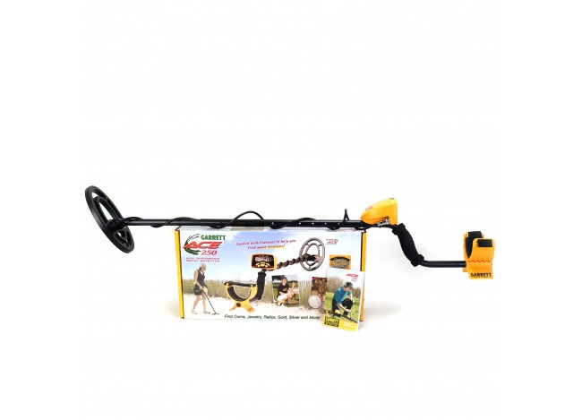 Assembled Garrett ACE 250 Metal Detector on Manufacturer's Box with Manual on White Background