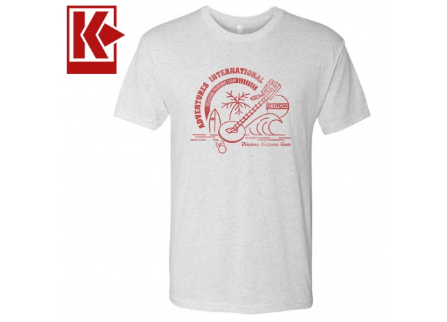 Vintage Style Kellyco TShirt with Adventure's International in Red Faded Text on Heather White T-Shirt on White Background with Kellyco Logo in Red in Upper Left Corner
