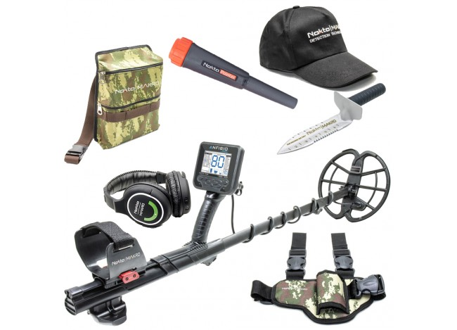 Anfibio Multi Metal Detector with Seasonal Promo Items Including Nokta Pointer, Camo Pouch, and Pinpointer Leg Holster Plus More on White Background