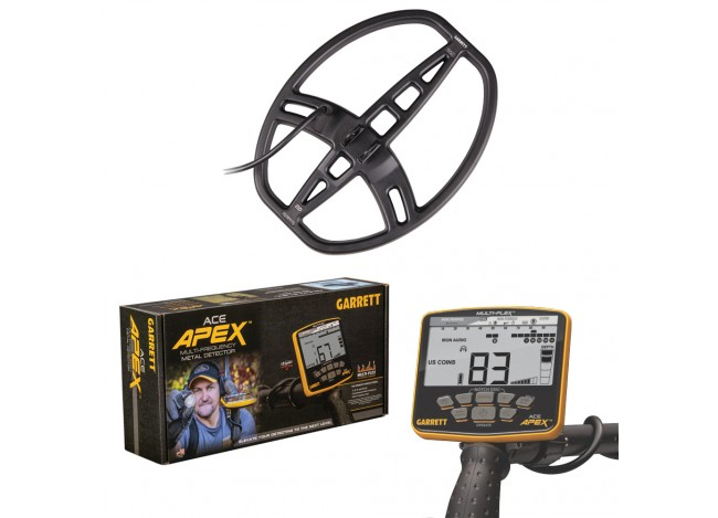 Garrett Ace Apex Metal Detector with Raider Coil and Box on White Background