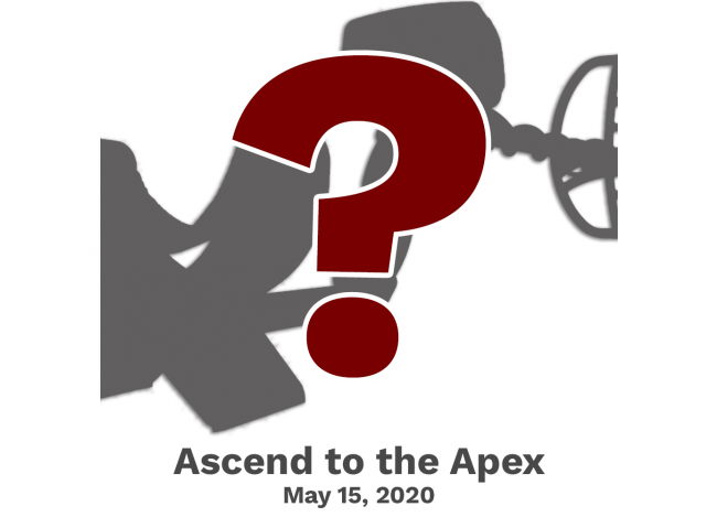 Garrett Apex Metal Detector reveal with date May 15, 2020 in grey text