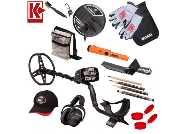 Garrett AT Max Gold Bundle with Pro-Pointer Pinpointer, Gloves, Pouch, Coil, Gravedigger Sidekick, red finds tubes, andre's pencils, hat and headphones arranged around metal detector at center on white Background with Red Kellyco K Logo in upper left corn