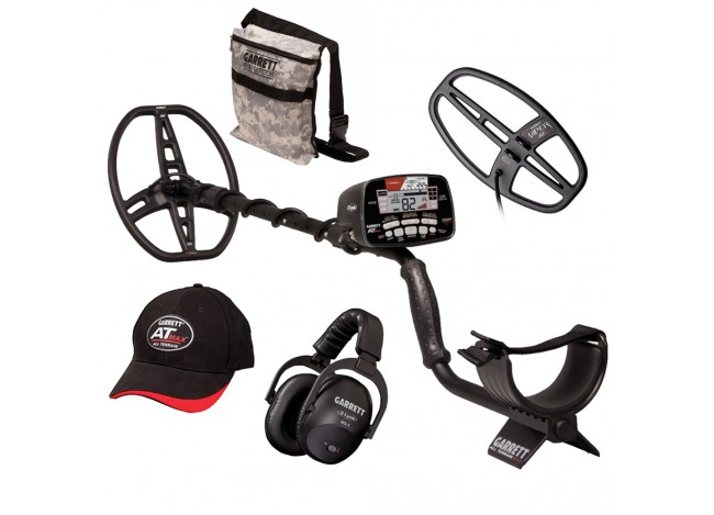 Garrett AT Max Metal Detector with Headphones, Hat, Camo Pouch and Viper Coil on White Background