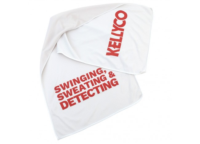 Kellyco Cooling Towel for Metal Detecting with Red Text on Off-White Cloth on White Background
