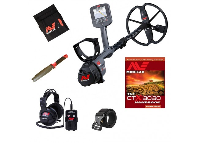 Minelab CTX 3030 Metal Detector with Headphones and Wireless Module, Finds Pouch, Kellyco Belt, Radius Digger Knife and Handbook on White Background