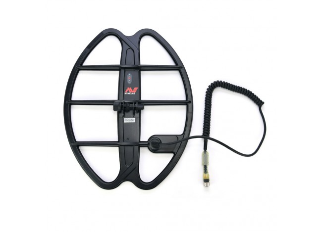 "Minelab 17"" DD Smart Coil for Minelab CTX-3030 and cable connector on white backgorund"