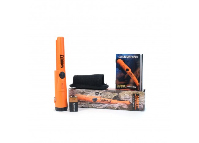 Garrett Pro-Pointer AT with Box, Holster, 9V battery and Manual on White Background