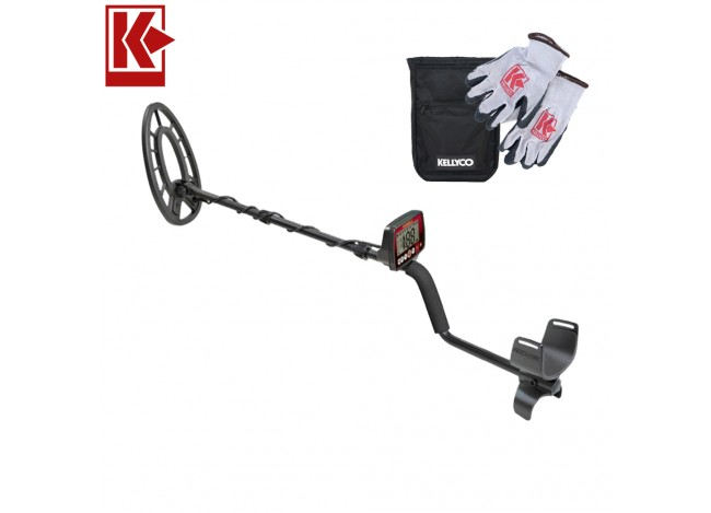 Fisher F44 Weatherproof Metal Detector with Kellyco Sifter and Gloves on White Background