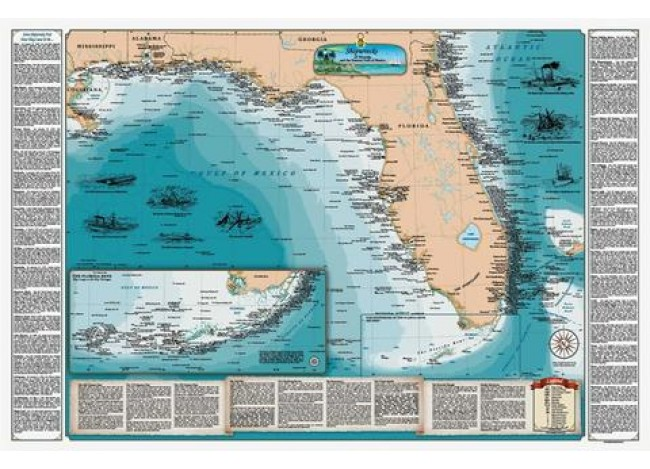 Sealake Maps Laminated Shipwreck Map of Florida and the Eastern Gulf of Mexico - 1