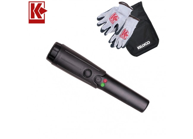 Garrett THD Metal Detector with Holster with Kellyco Gloves and Pouch in Upper Right Corner and Red Kellyco Logo in Upper Left on White Background