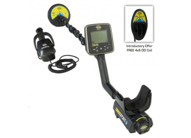 White's Goldmaster GMX Sport Gold Detector shown with headphones and free 4x6 DD Search Coil from Kellyco Metal Detectors