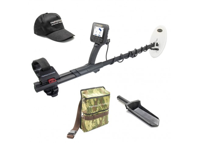 Nokta Makro Gold Finder 2000 Seasonal Promo with Camo Pouch Cap and Digger on White Background