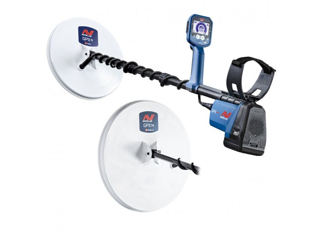 Minelab GPX 6000 Metal Detector with 2 Coils on White Background